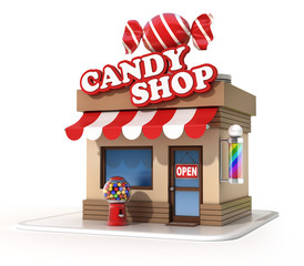 candy shop 3d illustration