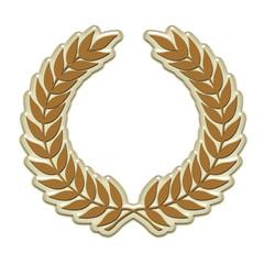 Embossed laurel wreath in gold