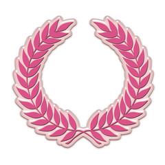 Embossed laurel wreath in pink