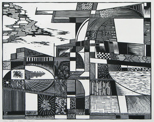 a woodcut print of an abstracted cityscape