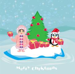 funny Christmas card - a penguin and a small Eskimo