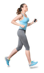 Woman Running with Phone Earbuds Isolated on White Background