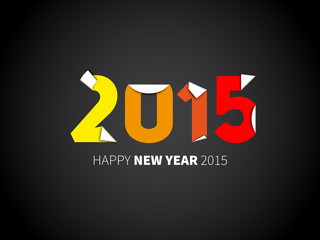 Original Happy New Year 2015 card, vector illustration with pape