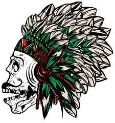 Skull Indian Fun Man T shirt Graphic Vector Design