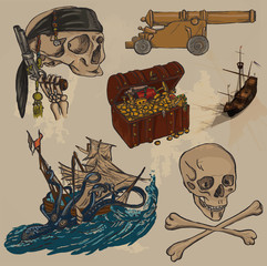 pirates - an hand drawn colored vector pack no.3