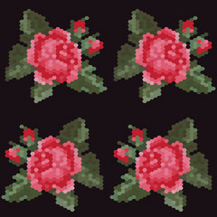 Vector mosaic with red roses