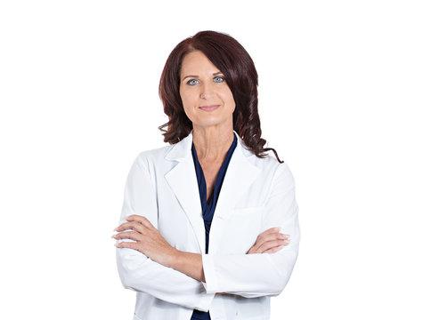 Female doctor pharmacist scientist researcher on white