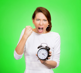 Angry woman boss with alarm clock screaming pressured by time