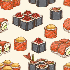 seamless background with sushi