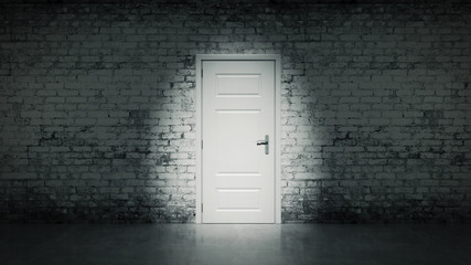 3d open door in a white vintage brick wall