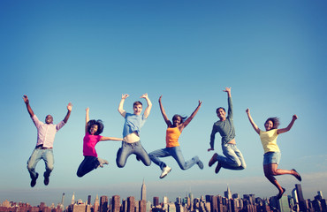 Cheerful People Jumping Friendship Happiness City Wall mural