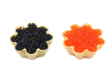 red and black caviar in tartlets on white background