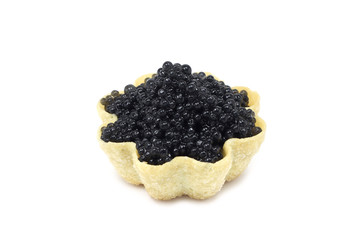 black caviar in tartlets on white background