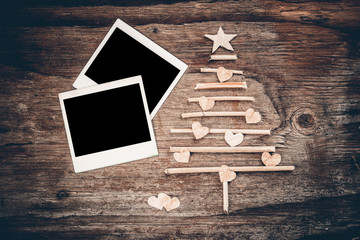 Christmas tree and instant photo