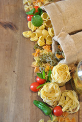 Italian colorful pasta