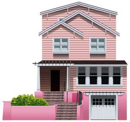 A beautiful pink house