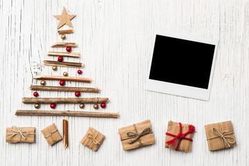 Christmas tree and old photo