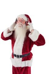 Santa Claus enjoys some music