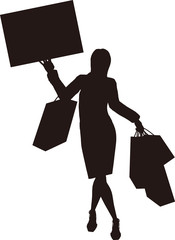 Silhouette shopping woman[Message board]
