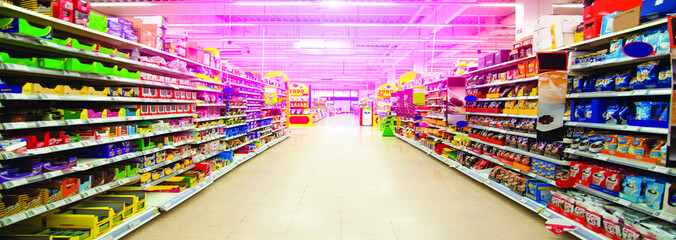 Wide perspective of empty supermarket