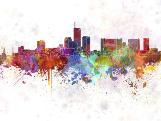 Essen skyline in watercolor background