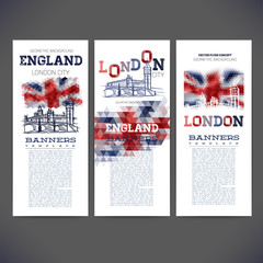 geometric background flag of England,picture london big ban.