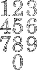 set of numbers in classic font