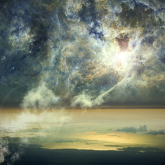 Connection of heaven and Earth. Clouds join to a nebula in space