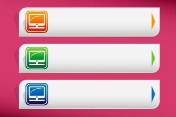 Computer display icon and design template vector. Graphic or web