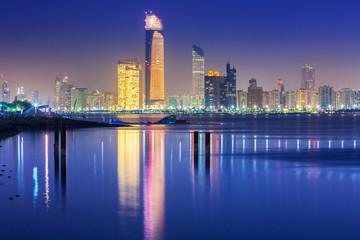 Panorama of Abu Dhabi at night, capital of United Arab Emirates