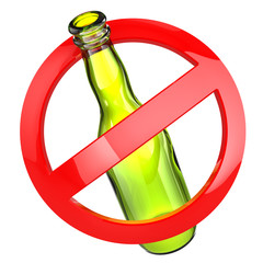 Stop alcohol or No glass sign.  Bottle on white isolated backgro