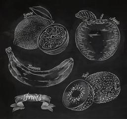 Fruit lemon, apple, banana, kiwi chalk