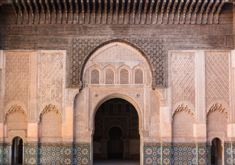The marble craft of building at Medersa Ben Youssef in Marakesh