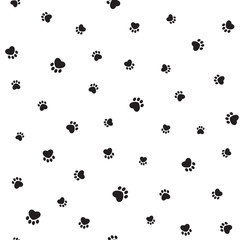 Seamless pattern with heart shaped animal footprints