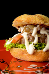 Tasty beef burger with onions