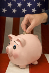 American Piggy Bank With Depositor