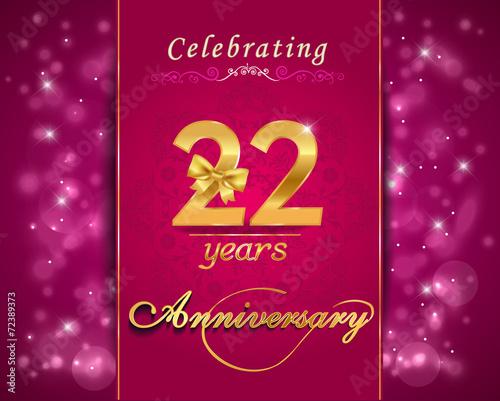 22 year anniversary celebration sparkling card 22nd anniversary