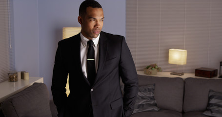 Handsome black man wearing a suit