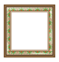 Brown frame with holly isolated on white