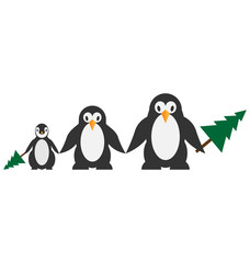 Penguins family with Christmas tree isolated on white