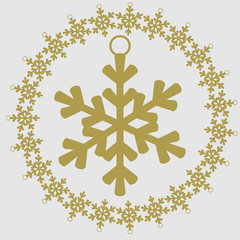 Christmas and New Year vector icon. Snowflake
