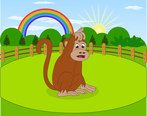 Cartoon monkey and rural meadow with green grass on the mountain