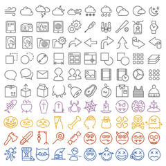 100 vector icons set for web and user interface also special hal