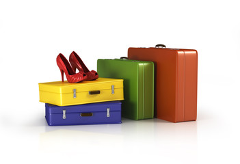 suitcases with red high heel shoes