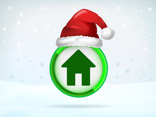 house green icon covered with Santa cap