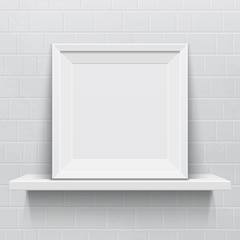 Realistic picture frame on white realistic shelf against brick