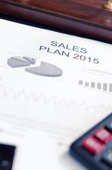 Showing business and financial report. Sales plan
