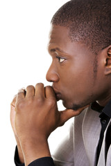 African man thinking about an idea
