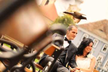 Bride and groom in the city on a bench with pigeons flying