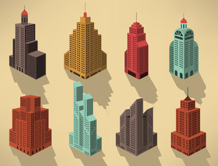 Skyscrapers in perspective (blue)
